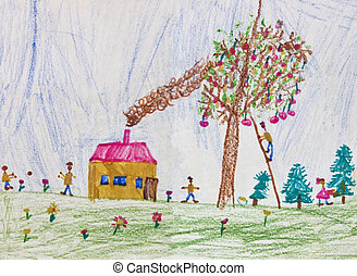 Child drawing of a happy family