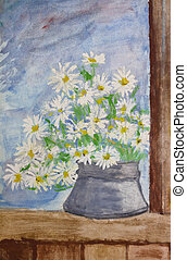 Bouquet of daisies painting