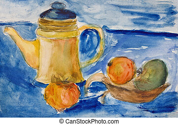 Still life with kettle and apples aquarelle - Original...