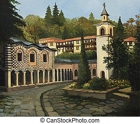 Church in Blagoevgrad - An oil painting on canvas of a...