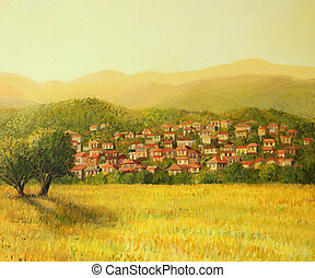 Golden Rural Sunset - An oil painting on canvas of a golden...