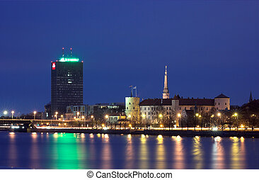 Riga at Night - Riga. A Capital of Latvia.