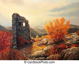 Old Fortress Ruins - An oil painting on canvas of an old...