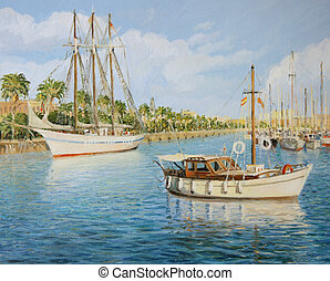 Port Vell in Barcelona - An oil painting on canvas of the...