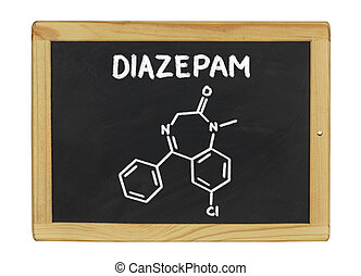 chemical formula of diazepam on a blackboard