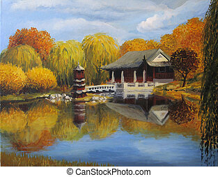 Chinese Garden Berlin - An oil painting on canvas of a...