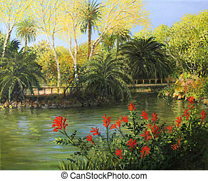 Garden of Eden - An oil painting on canvas of the formal...