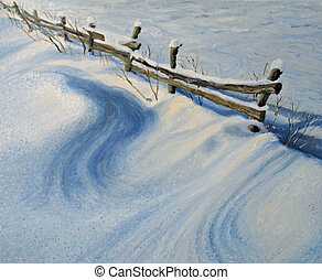 Ice glitter - An oil painting on canvas of a rural fence...