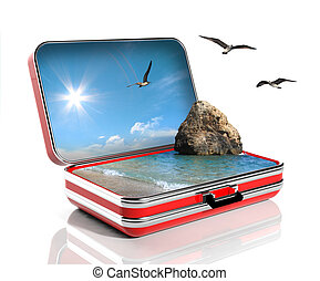 Summer vacation concept Travel suitcase with seascape inside...