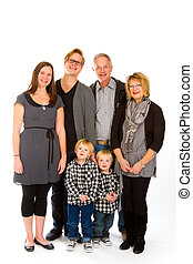 Family of Six Isolated - This group of six people includes...