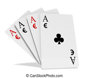 Four aces playing cards suits with money symbols