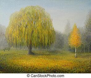 Sleepy Morning - An oil painting on canvas of an autumn...