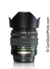 camera lens - Black camera lens isolated in white background