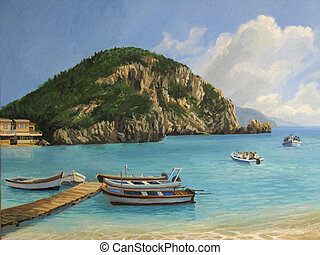 The Boats of Paleokastritsa - An oil painting on canvas of a...
