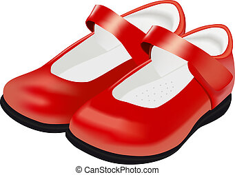Vector woman's red shoes for child on white background