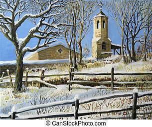 Winter Scene in Stoykite - An oil painting on canvas of a...