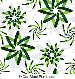 green graphic flowers pattern, abstract seamless texture;...