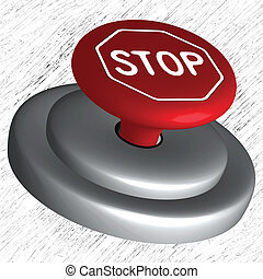 3d stop button over striped background, abstract vector art...