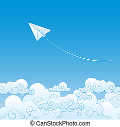 Paper plane against sky with clouds