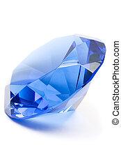 Blue Gemstone - Shiny sapphire isolated on white