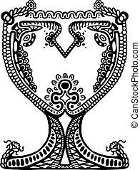 Painted goblet, illustration design element