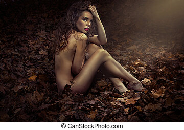 Naked pretty princess among leaves - Naked beautiful...