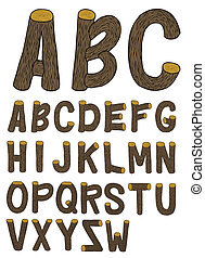 Abc - Very detailed hand drawn and sketched wood font with...