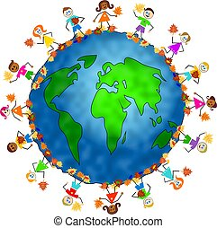 global fall kids - World globe surrounded by diverse...