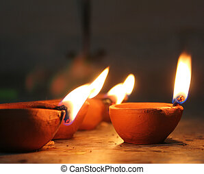 oil lamp in diwali