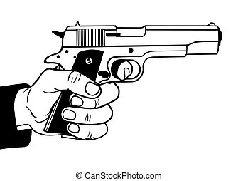 Gun in hand, vector illustration