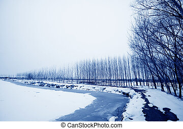 fish pond in the snow in winter, north china