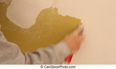 paint scraping - scraping old paint off of a wall