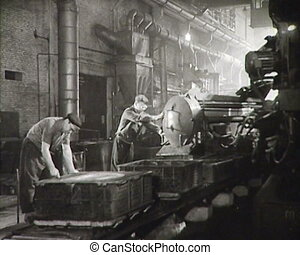 Workers of the USSR at the factory. Newsreel.