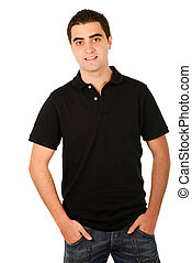 Young casual man portrait isolated on white background -...