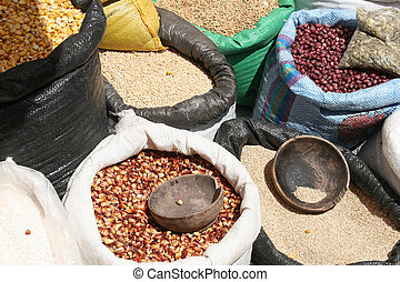 Beans and Corn at Otavalo Market - Sacks of beans and corn...