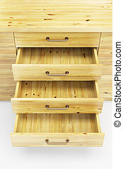 cupboard with opened drawers - wooden cupboard with opened...