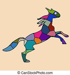 horse fine vector silhouette color