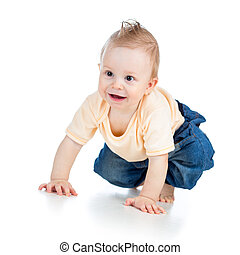 cute cheerful crawling baby boy isolated on white background