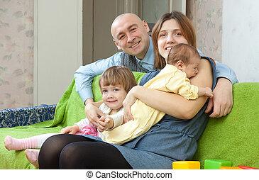 neonato, quattro, famiglia, bambino
