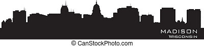 Madison, Wisconsin skyline Detailed city silhouette Vector...