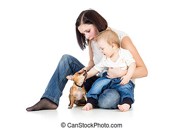 mother, baby boy and dog isolated on white background