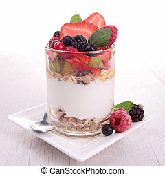 yoghurt, cereals and fruits