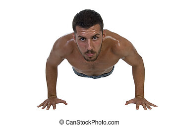 handsome young male exercising on an isolated white...