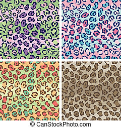 Spotted Cat Pattern_4 Colorways - Vector seamless leopard...