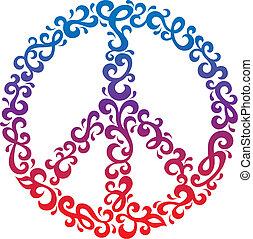 Floral Peace Symbol - Vector peace symbol in a retro...