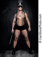 conceptual, foto, muscular, bueno, Mirar, policía,...