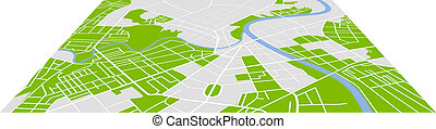 City map - Editable vector street map of town. Vector...