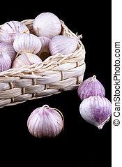 Basket full of garlic.