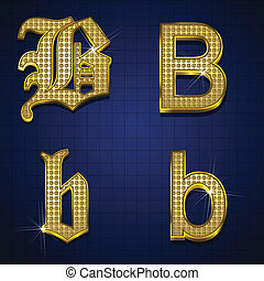 Luxurious alphabet. Designed with gold diamonds