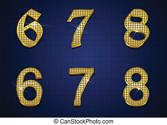 Luxurious number with gold diamonds